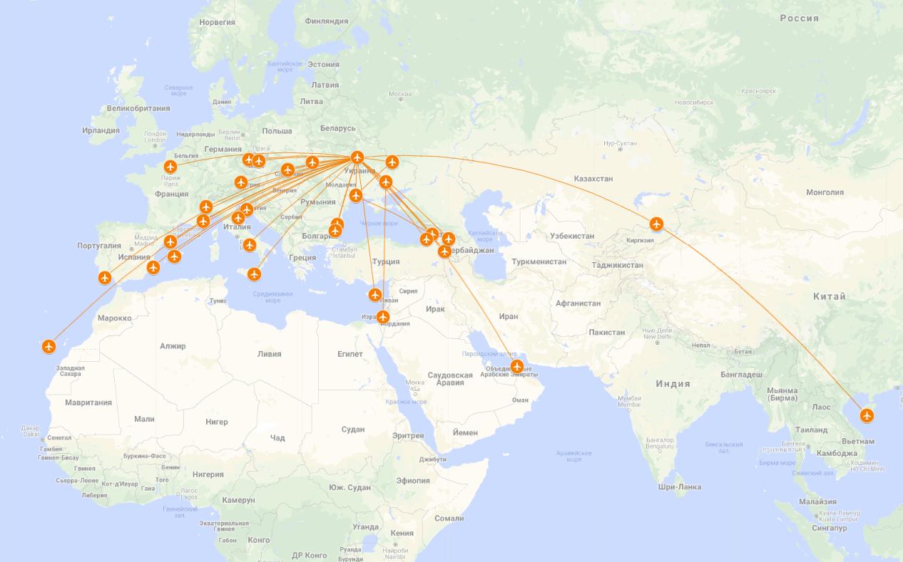 Карта полетов SkyUp Airlines